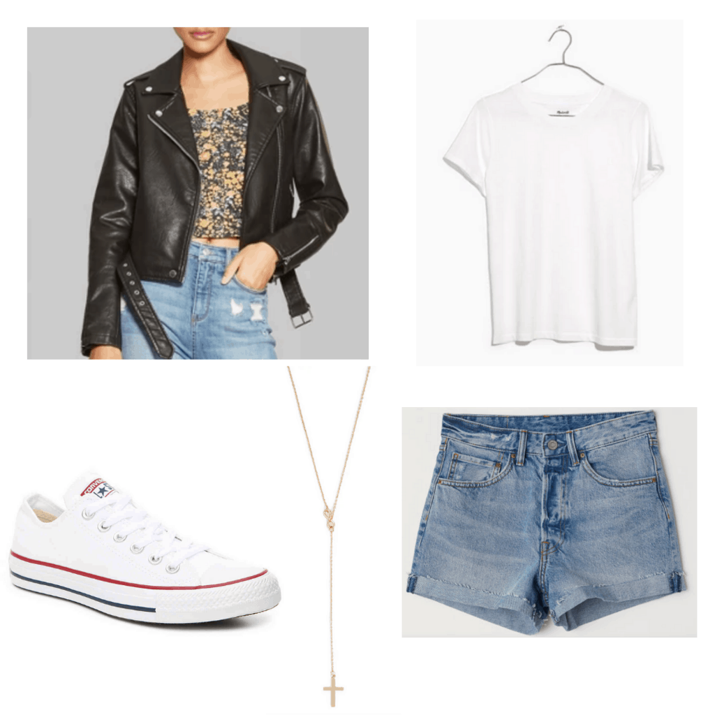 Back leather jacket with whit crew t-shirt, denim jeans, white converse, and gold cross necklace