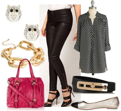 How to style leather jeans for day with a polka dot blouse, black belt, metallic flats, a pink shoulder bag and fun jewelry