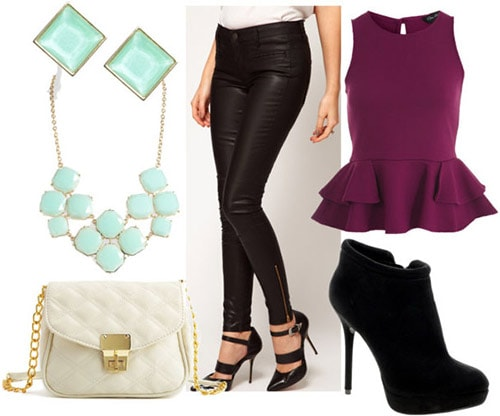 How to style leather jeans for night with a plum peplum top, black booties, a quilted bag, and mint-hued jewelry