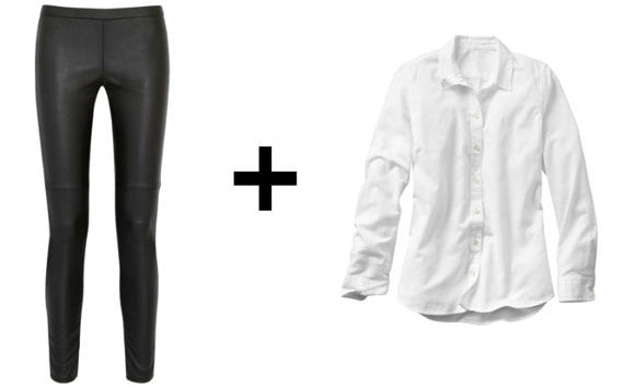 Leather leggings and white oxford shirt