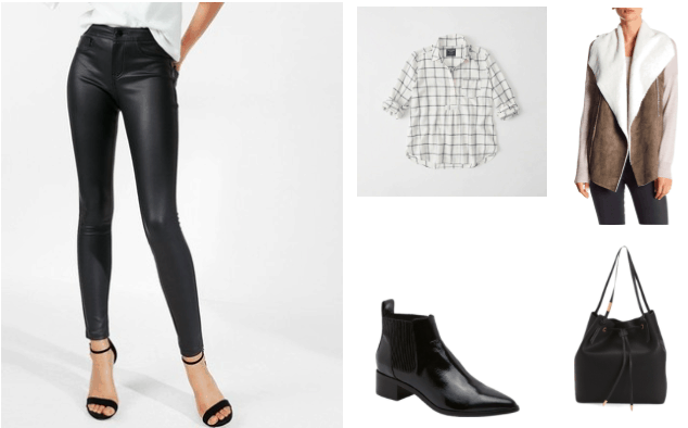 Leather leggings outfit for class: Black leather leggings, checkered shirt, Chelsea boots, shearling vest