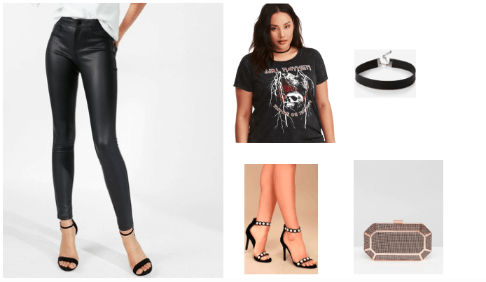 Leather leggings outfit for night out: Black leather leggings, band tee shirt, choker necklace, box clutch, pearl heels