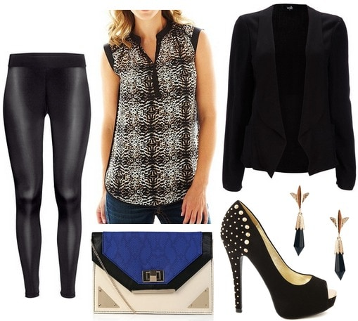 Leather leggings, printed blouse, blazer, pumps