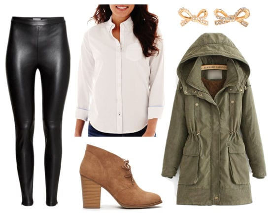 Leather leggings white shirt parka ankle boots