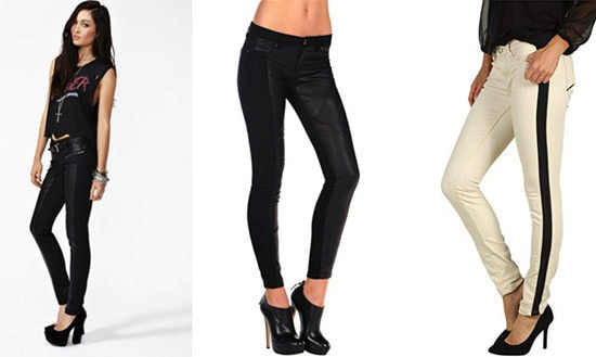Leather panelled jeans