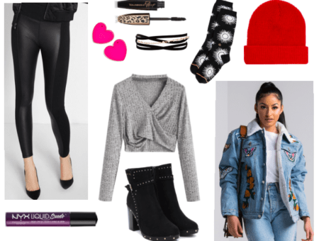 Cold weather party outfit: leather leggings, burgundy lipstick, heart earrings, grey wrap sweater, embellished booties, layered choker, mascara, red beanie, star-print socks, shearling denim jacket
