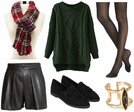 Leather shorts green sweater black loafers look