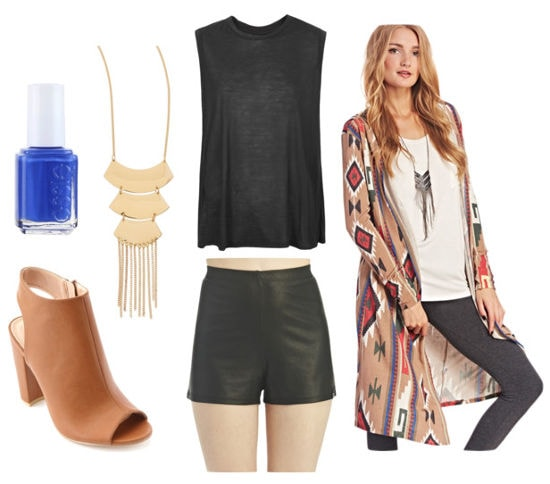 Leather shorts and printed duster cardigan