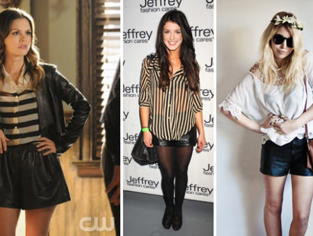 Leather shorts seen on Rachel Bilson, Shenae Grimes, and a street style fashionista