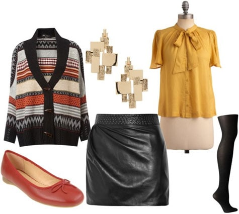 How to wear a leather skirt during the day with a cardigan, blouse, earrings, flats and tights