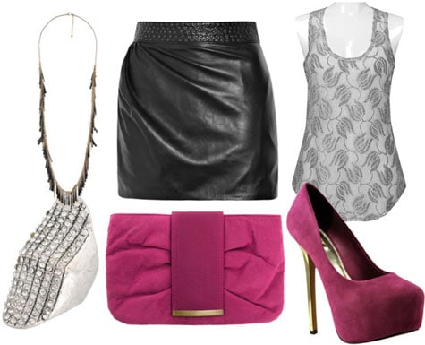 How to wear a leather skirt at night with a lace tank, pink heels and clutch, and statement jewelry