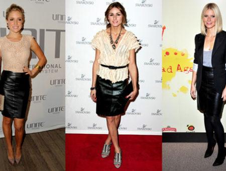 The leather skirt trend seen on Kristen Cavallari, Olivia Palermo, and Gwyneth Paltrow