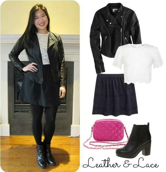 black skater skirt, leather jacket, lace top