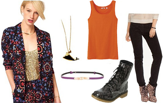 Outfit inspired by Led Zeppelin's Moby Dick: Patterned blazer, tangerine tank, combat boots, skinnies, jewelry