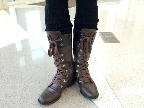 Leg warmers and combat boots