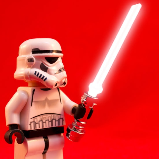 Lego with a lightsaber