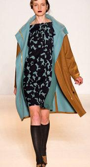 Lela Rose Fall 2011 - Blue and black patterned dress, camel coat, boots