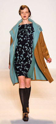 Lela Rose Fall 2011 - Blue and black patterned dress, camel coat, boots