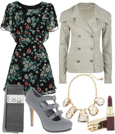 Outfit inspired by Lela Rose Fall 2011 - Patterned dress, grey jacket, blue heels