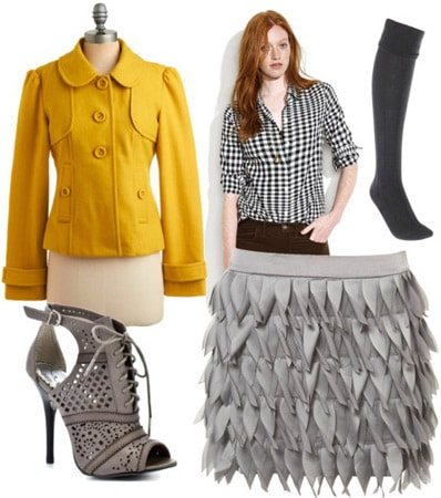 Outfit inspired by Lela Rose Fall 2011 - Yellow jacket, textured skirt, plaid shirt