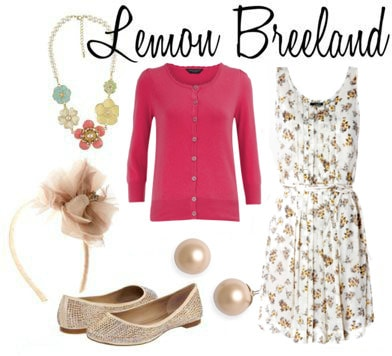 Lemon Breeland outfit 1: White floral dress, hot pink cardigan, floral accessories, sparkle shoes