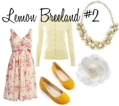 Lemon Breeland Outfit 2: Pink dress, light yellow cardigan, yellow flats, white hair flower, bauble necklace