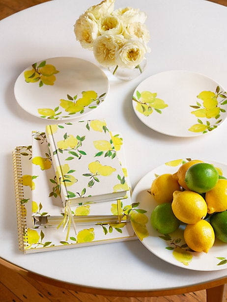 Lemon dining set from Kate Spade - plates, bowls, and notebooks
