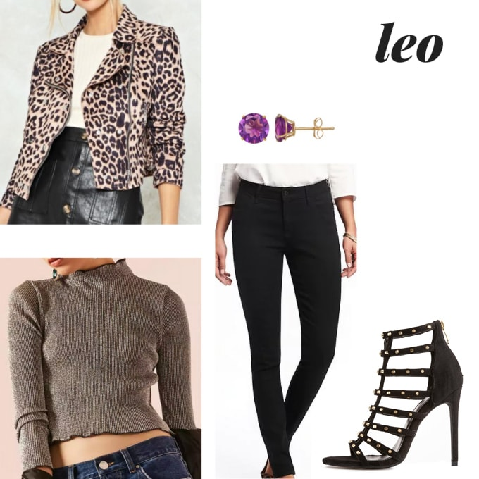 Astrology fashion: Outfit for a Leo girl with black skinny pants, gray cropped turtleneck, leopard print moto jacket, strappy heels
