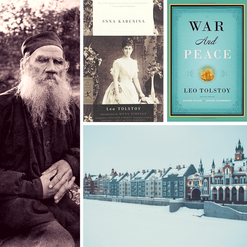 Leo Tolstoy photo, book covers, and photo of Russia