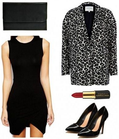 Leopard coat, black dress, and pumps