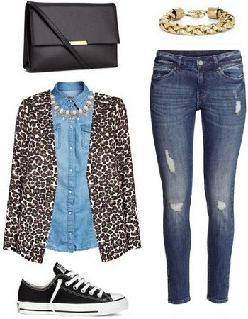 Leopard coat, denim shirt, destroyed skinnies, and converse