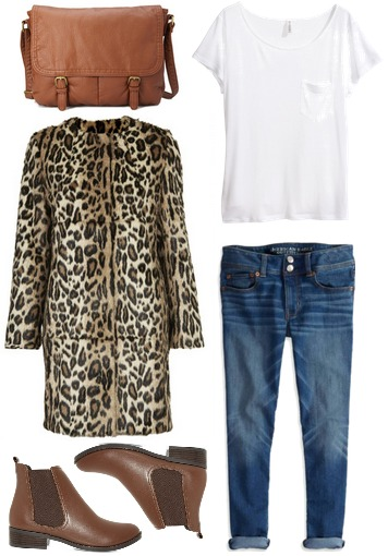 Leopard coat, jeans, ankle boots, white tee