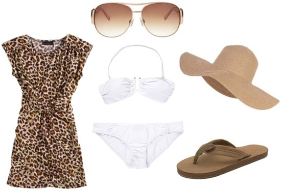 How to wear a leopard print dress to the beach - white bikini, sunglasses, hat, sandals