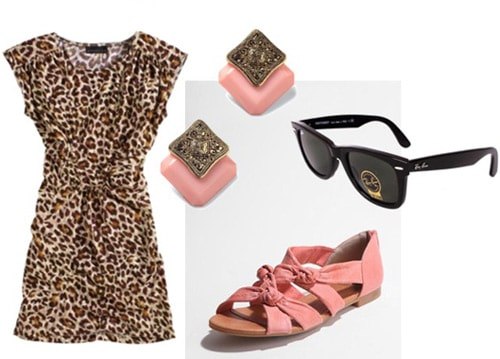 How to wear a leopard print dress casually - pink sandals, sunglasses, and earrings
