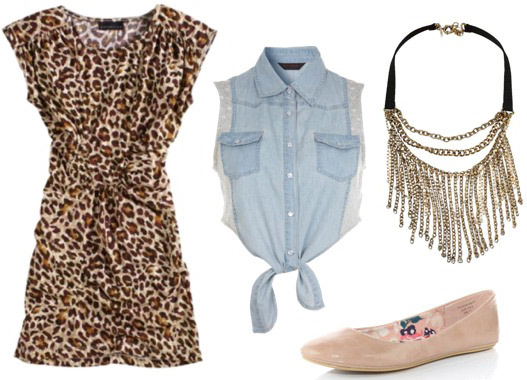 How to wear a leopard print dress with a denim shirt/vest