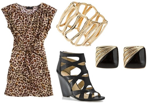 How to wear a leopard print dress for a night out - Cutout wedges, bracelets