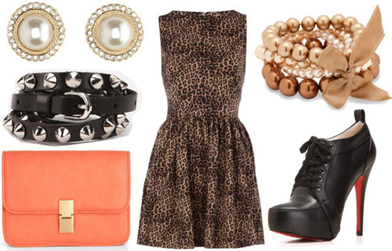 """how to style a leopard dress for night with spiked black belt black ankle booties coral clutch pearl studs and pearl bangles"