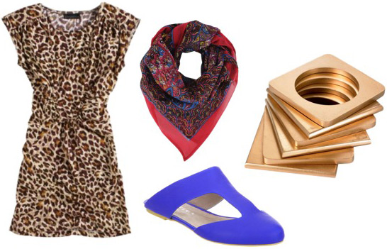 How to wear a leopard print dress with a red scarf and bright blue shoes