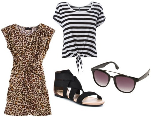 How to wear a leopard print dress with a striped shirt and sandals