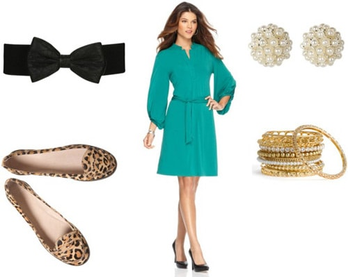 Leopard loafers outfit 2: Green dress and belt