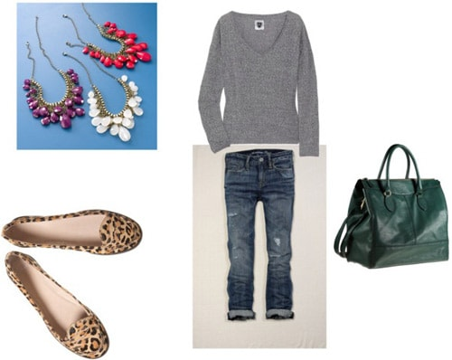 Leopard loafers outfit 1: Boyfriend jeans and sweater