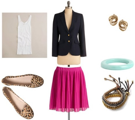 Leopard loafers outfit 4: Pink skirt, black blazer