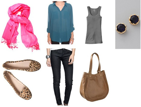 Leopard loafers outfit 3: Skinny jeans, grey tank, blouse