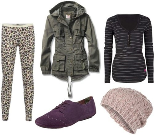 Leopard pants outfit 1: Striped tee, oxfords, military jacket, hat