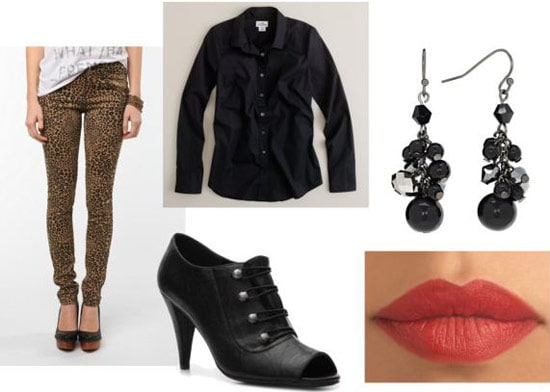 Leopard pants outfit 2: Ankle booties, button-down shirt, earrings