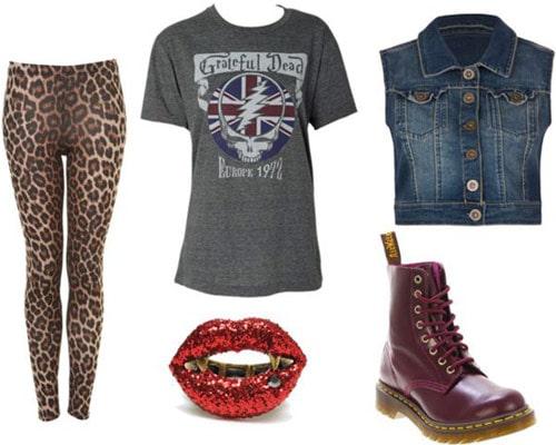 Leopard pants outfit 3: Band tee, denim vest, doc martens