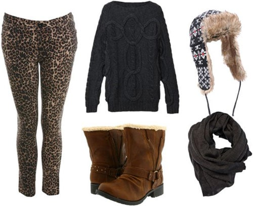 Leopard pants outfit 4: Oversized sweater, warm boots, scarf, hat