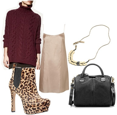 How to wear leopard print booties with a sweater and dress