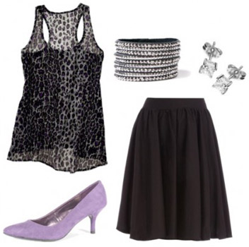 A leopard print tank worn with a mid-length black skirt, purple kitten heels, and cute jewelry