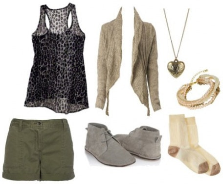 A leopard print tank worn with green shorts, a cardigan, and gray boots